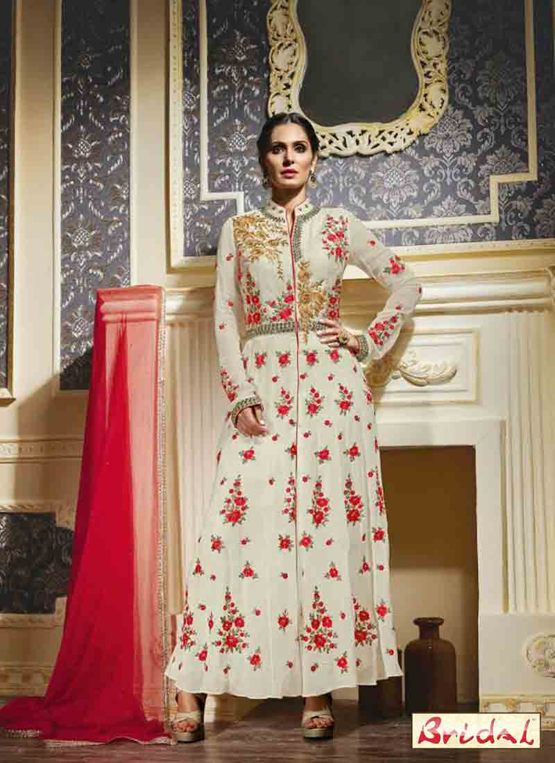new white and pink latest indian anarkali frocks and salwar suit dress designs 2017 for party