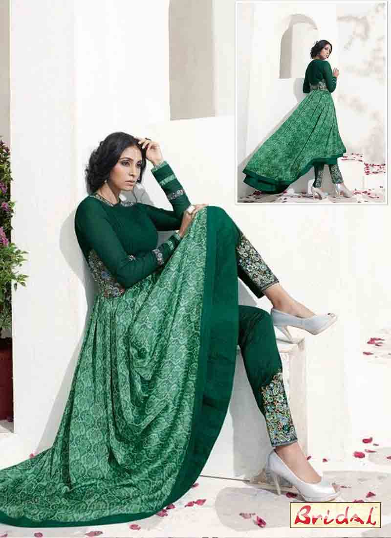 dark green latest indian anarkali frocks and salwar suit dress designs 2017 with churidar