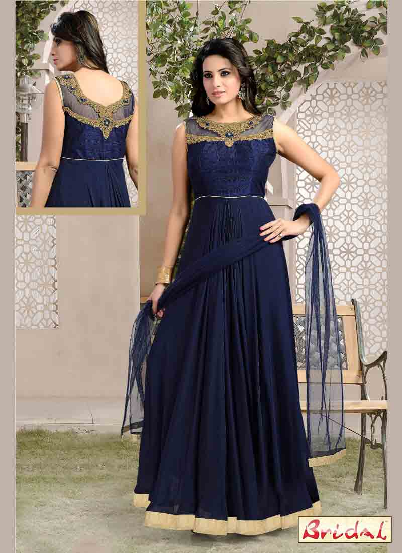 amazing blue latest indian anarkali frocks and salwar suit dress designs 2017 for party