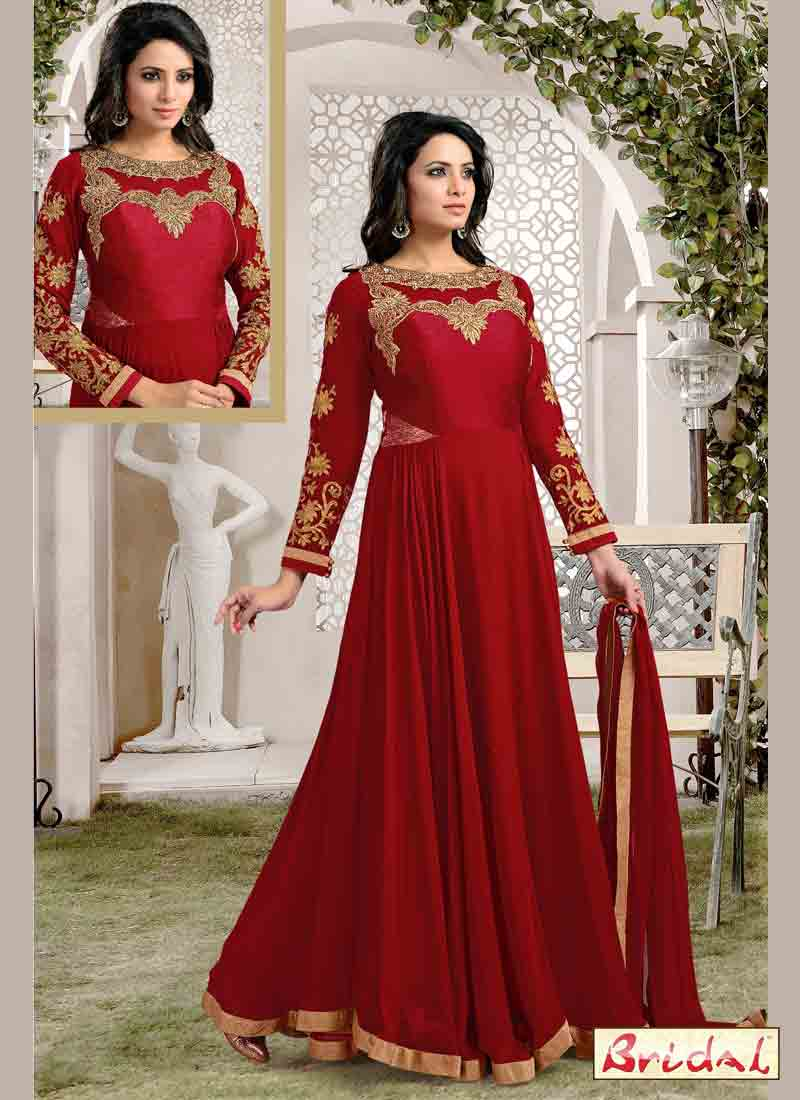 cool red and golden latest indian anarkali frocks and salwar suit dress designs 2017 for party