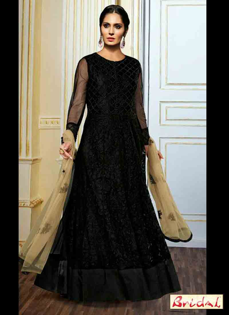 classy black floor length frock latest indian anarkali frocks and salwar suit dress designs 2017 for wedding party