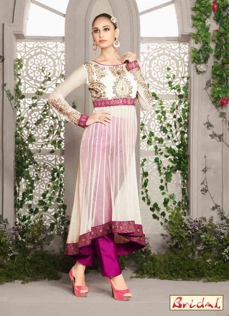 white and purple latest indian anarkali frocks and salwar suit dress designs 2017 with matching churidar