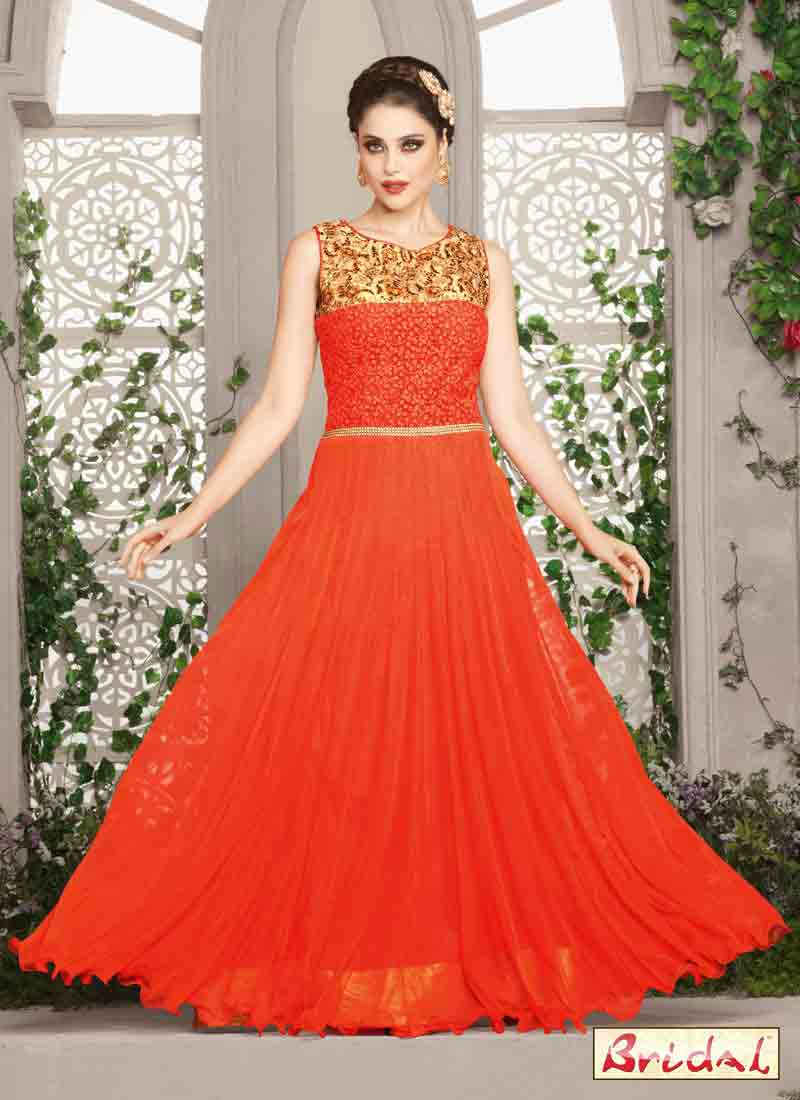 new trendy orange and golden latest indian anarkali frocks and salwar suit dress designs 2017 floor length frock for party