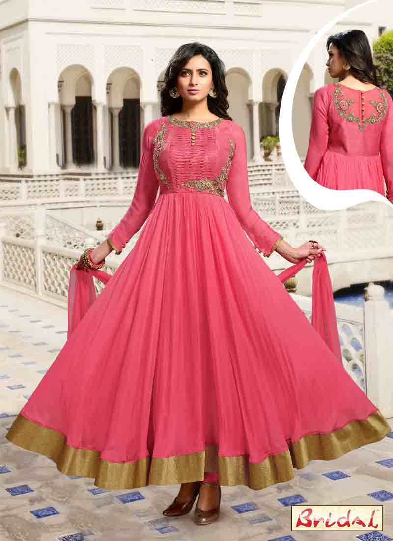 best pink latest indian anarkali frocks and salwar suit dress designs 2017 for party