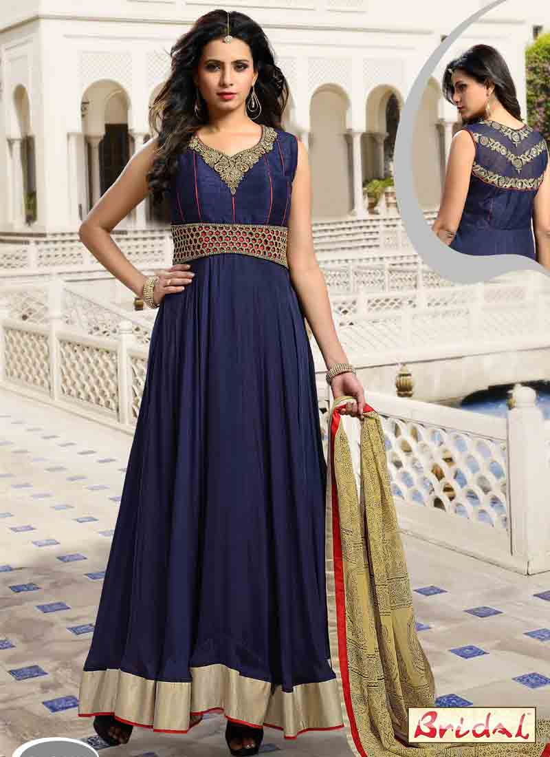 new blue latest indian anarkali frocks and salwar suit dress designs 2017 with golden dupatta