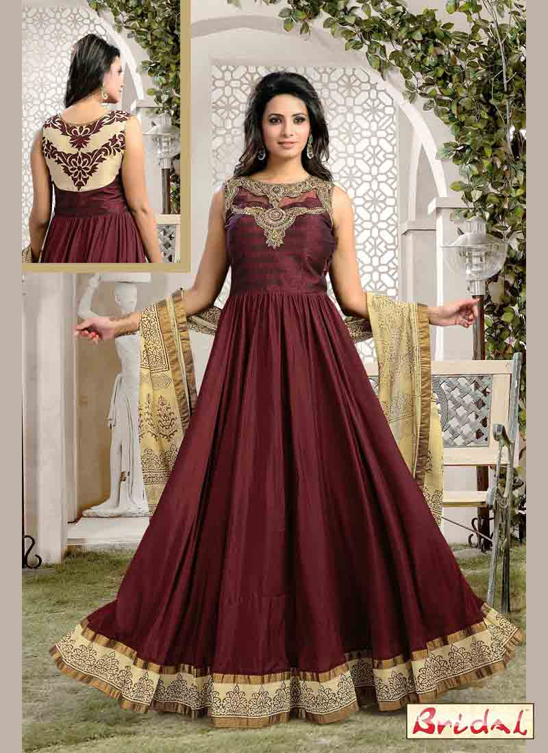 dark brown latest indian anarkali frocks and salwar suit dress designs 2017 with matching dupatta