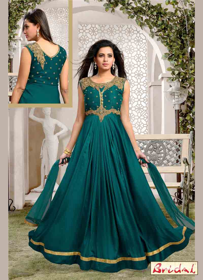 new green latest indian anarkali frocks and salwar suit dress designs 2017