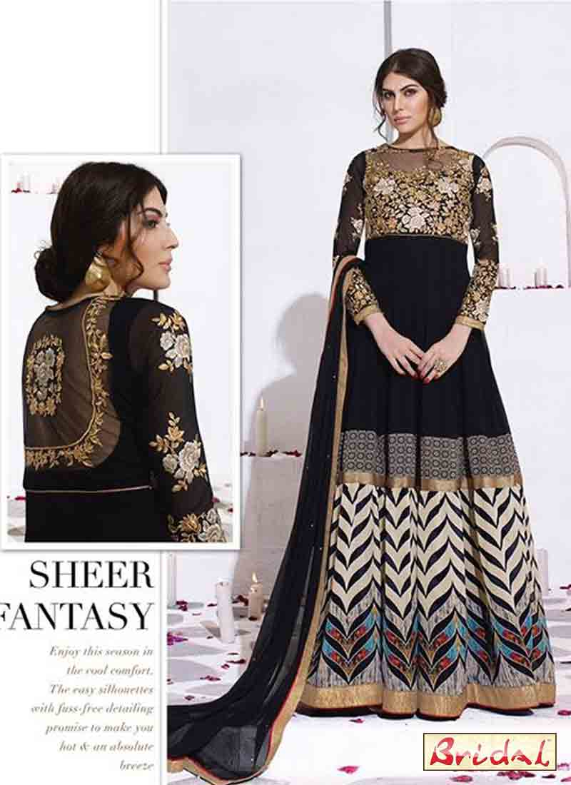 classy black white and golden latest indian anarkali frocks and salwar suit dress designs 2017 with black dupatta