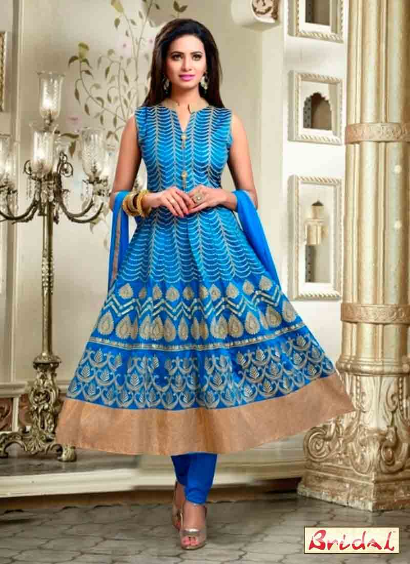 stylish blue latest indian anarkali frocks and salwar suit dress designs 2017 with matching dupatta and churidar