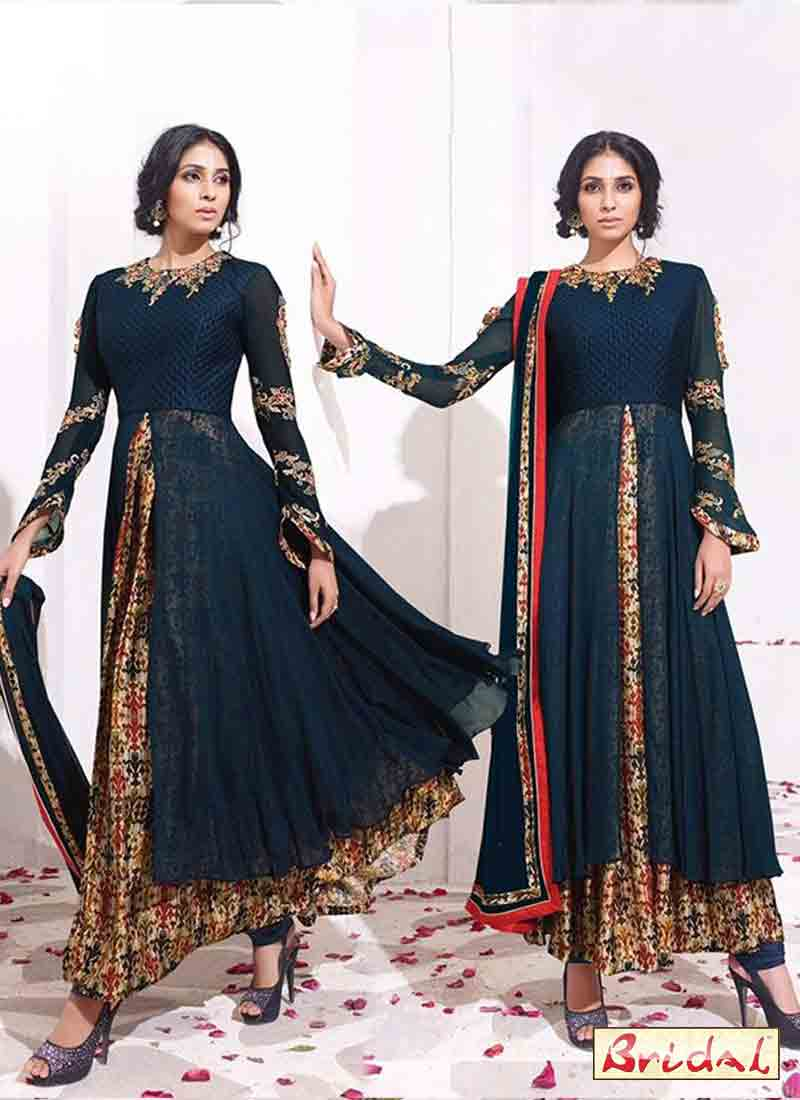 amazing navy blue and multi color latest indian anarkali frocks and salwar suit dress designs 2017 for party
