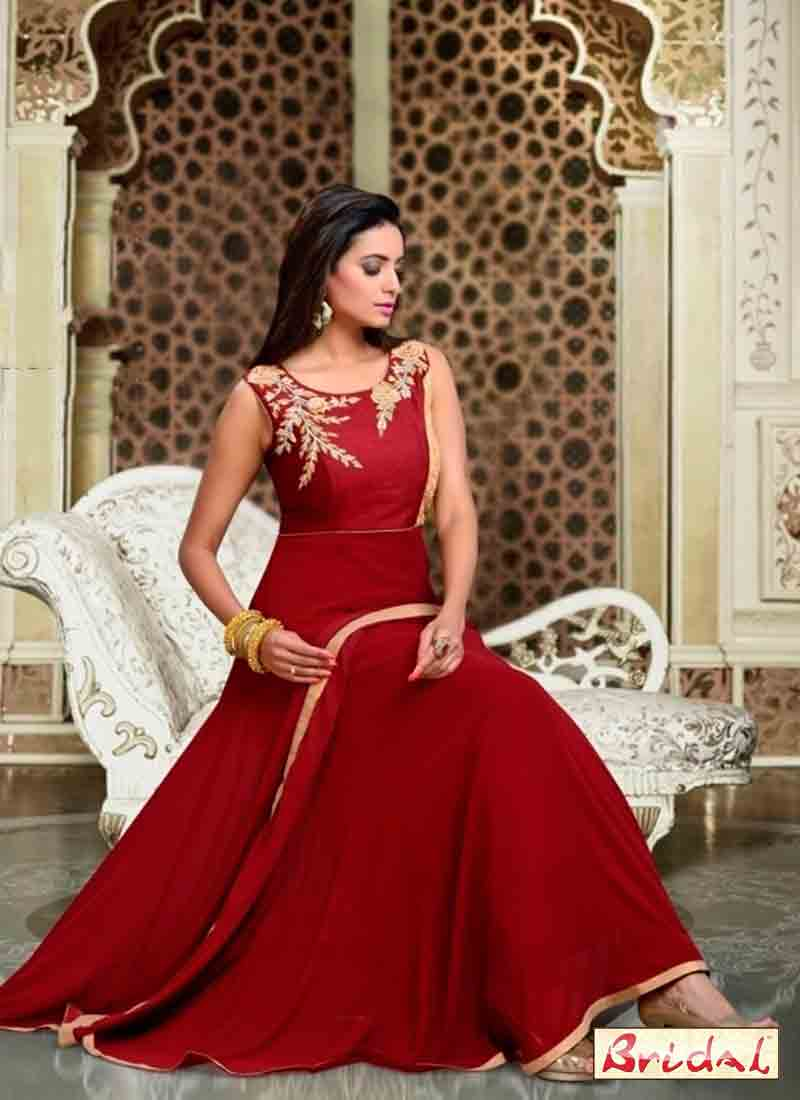 new classy maroon latest indian anarkali frocks and salwar suit dress designs 2017
