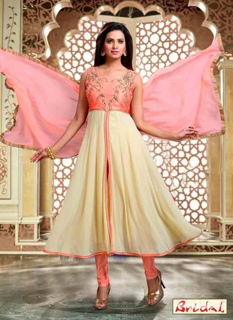 trendy light pink and off white latest indian anarkali frocks and salwar suit dress designs 2017 with matching dupatta