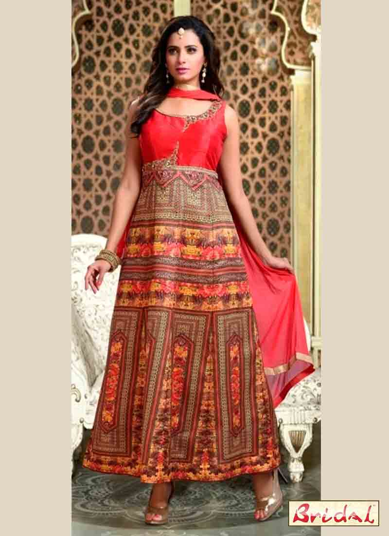 stylish red and multi color latest indian anarkali frocks and salwar suit dress designs 2017 with dupatta