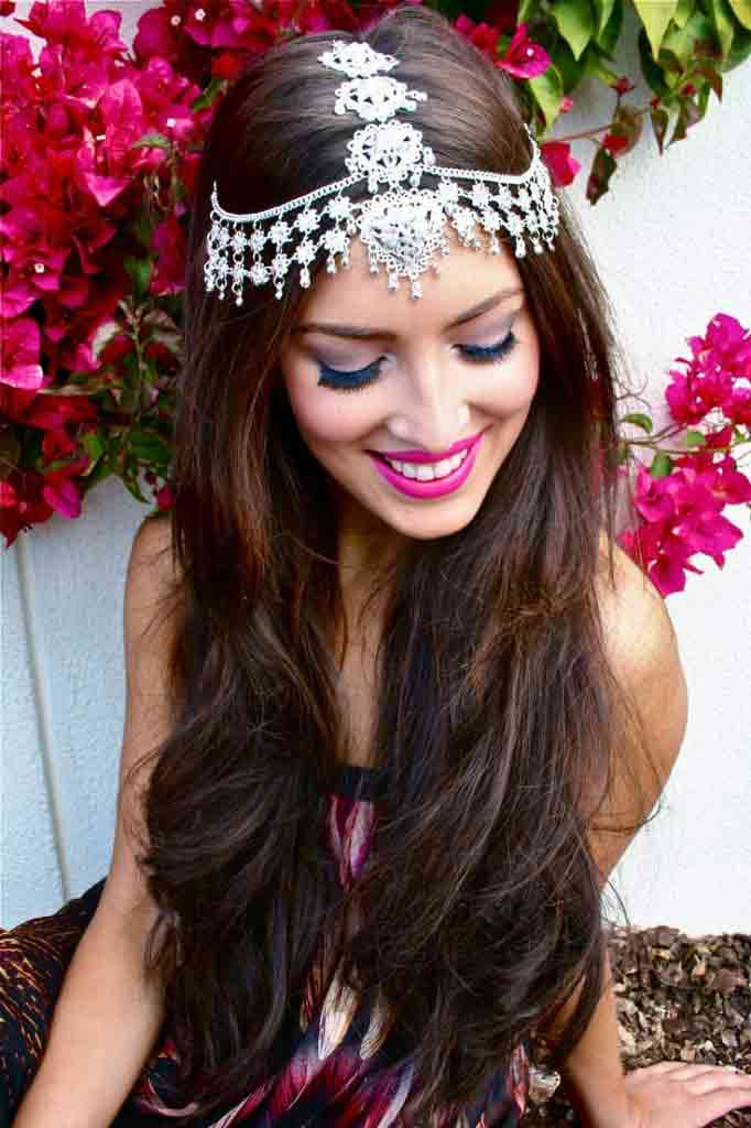 trendy best matha patti or maang tikka hairstyles for party 2017 with open long hair