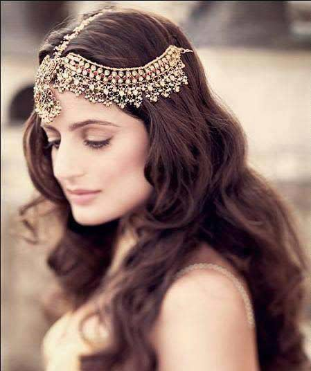 top best matha patti or maang tikka hairstyles for party 2017 with open hairstyle