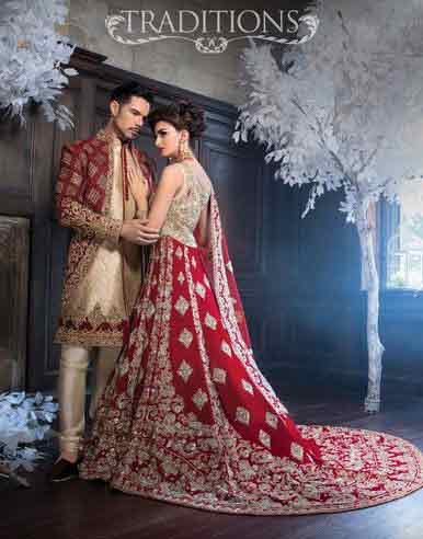 Bridal in long tail red and silver lehnga choli and groom in matching red and cream sherwani with pajama latest indian and pakistani wedding matching dress combinations for bride and groom 2017