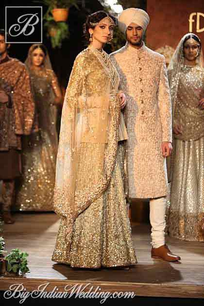 Bridal in cream dress with dupatta and groom in matching short sherwani latest indian and pakistani wedding matching dress combinations for bride and groom 2017