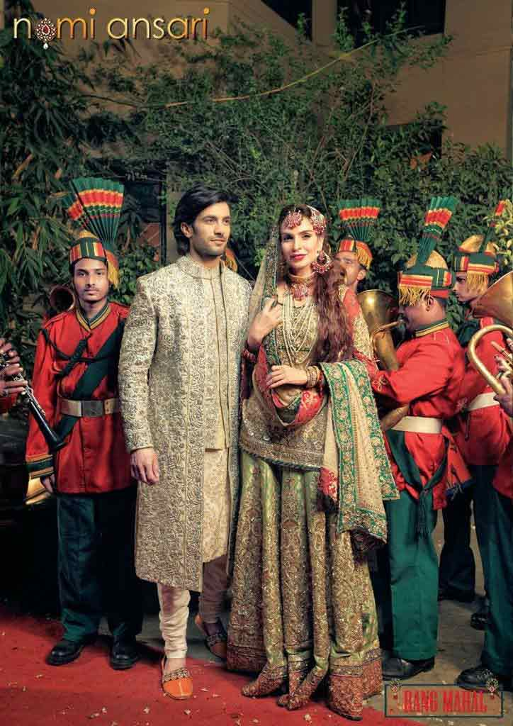 Bridal in mint green dress with dupatta and groom in matching sherwani with pajama latest indian and pakistani wedding matching dress combinations for bride and groom 2017