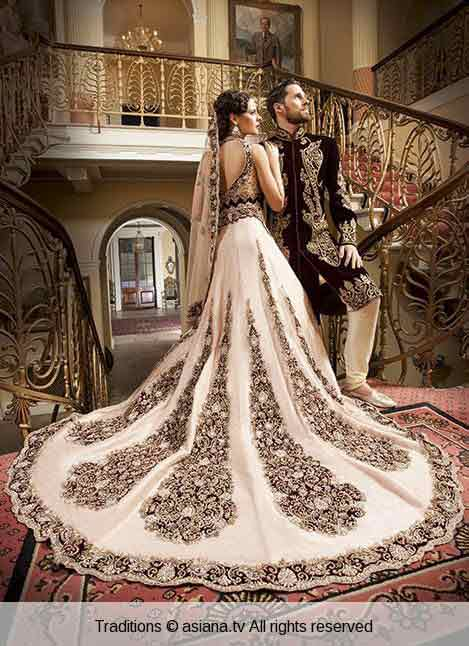 Christmas dresses for girls - Bridal In Long Tail White Embroidered Lehnga Choli And Groom In