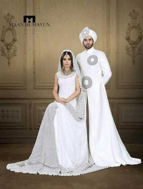 bride and groom white latest indian and pakistani wedding matching dress combinations for bride and groom 2017