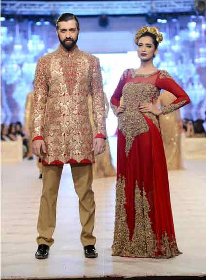 bridal in gorgeous red blood embroidered long dress and groom in matching embroidered skin and red short sherwani with skin trouser latest indian and pakistani wedding matching dress combinations for bride and groom 2017