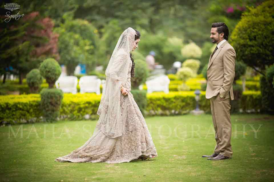 bridal in trendy ash grey dress with dupatta and groom in pant coat with matching shirt latest indian and pakistani wedding matching dress combinations for bride and groom 2017
