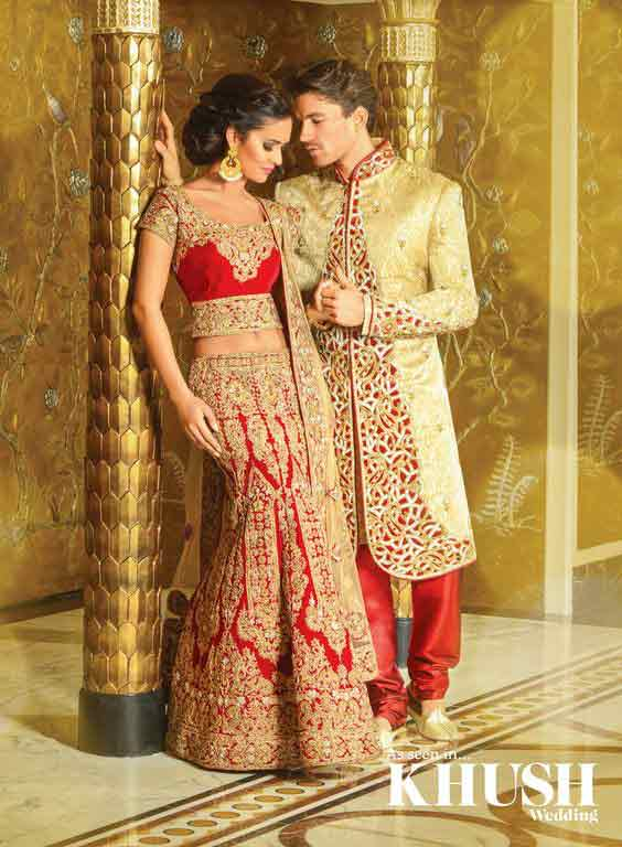 Bridal in red lehnga choli and groom in golden sherwani with red pajama latest indian and pakistani wedding matching dress combinations for bride and groom 2017