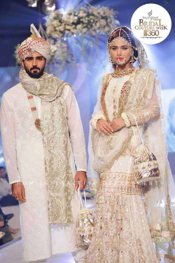 Bridal and groom in white matching dresses latest indian and pakistani wedding matching dress combinations for bride and groom 2017