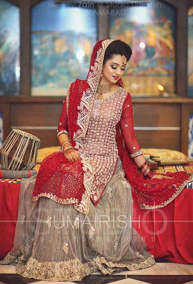 New stylish one sided best bridal dupatta setting styles 2017