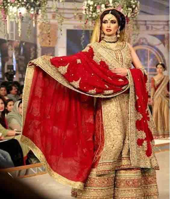 Latest pakistani best bridal dupatta setting styles 2017 with double dupatta style