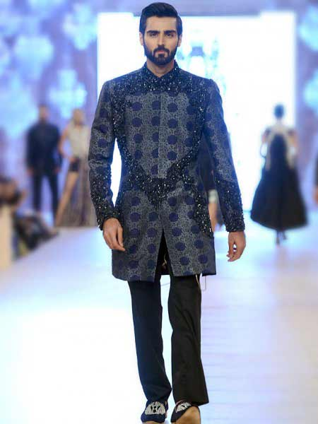 Latest blue short sherwani with black pants new short sherwani styles 2017 sherwani for men in pakistan