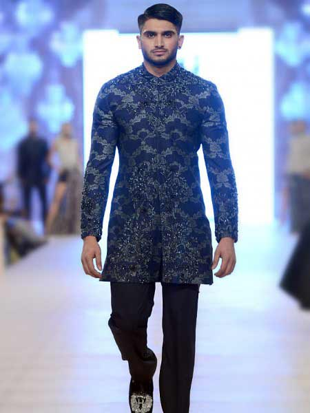 Latest stylish blue and silver embroidery with black trouser new short sherwani styles 2017 sherwani for men in pakistan