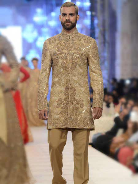 New designer cream off white sherwani for weddin new short sherwani styles 2017 sherwani for men in pakistan
