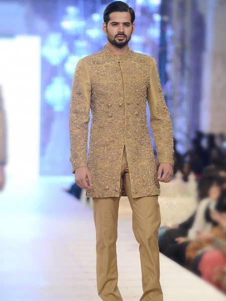 Best embroidered cream short sherwani new short sherwani styles 2017 sherwani for men in pakistan