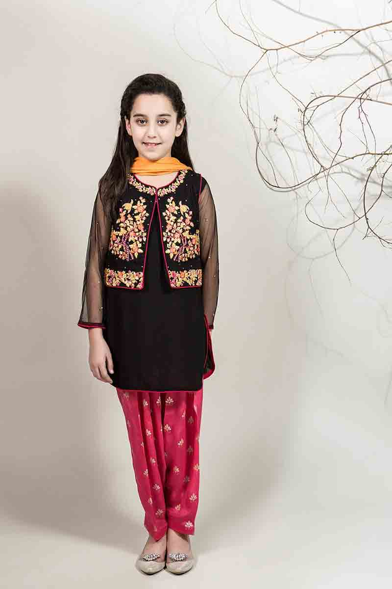 New black shirt with jacket and pink shalwar with yellow dupatta for Pakistani little girls Mariab kids party dresses 2017 for wedding