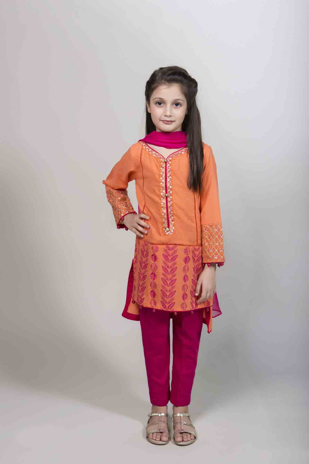 Latest orange and pink kameez kurti for pakistani girls Mariab kids party dresses 2017 for wedding