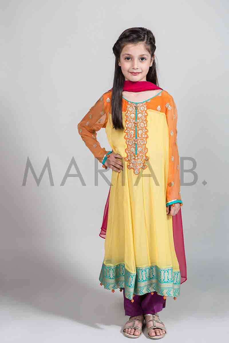 bd13cb68e7 Latest yellow long frock with shocking pink dupatta for Pakistani little  girls Mariab kids party dresses