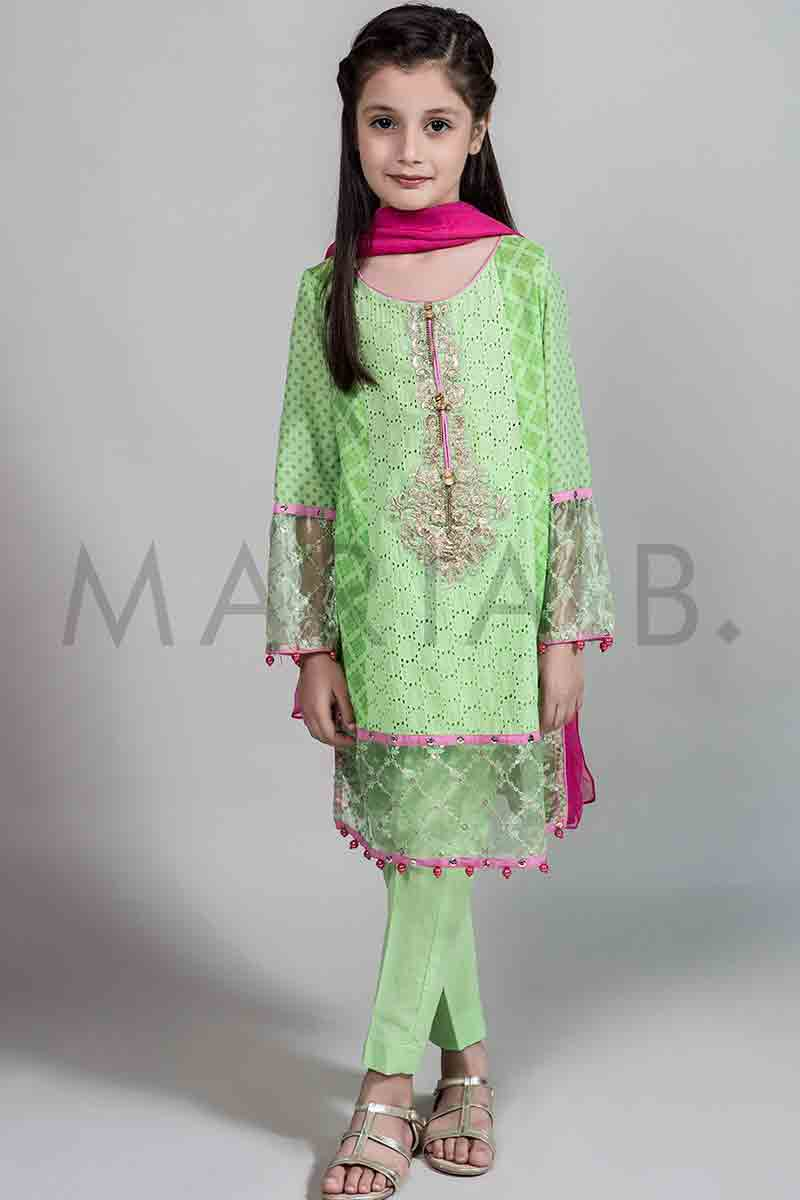 37ca812e7e New mint green embroidered shirt with shocking pink dupatta for Pakistani  little girls Mariab kids party