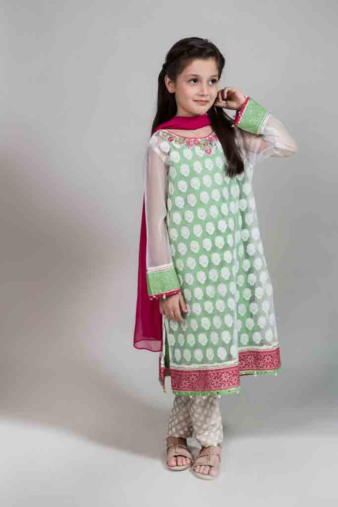 Best green white and pink frock with dupatta and pajama for Pakistani little girls Mariab kids party dresses 2017 for wedding