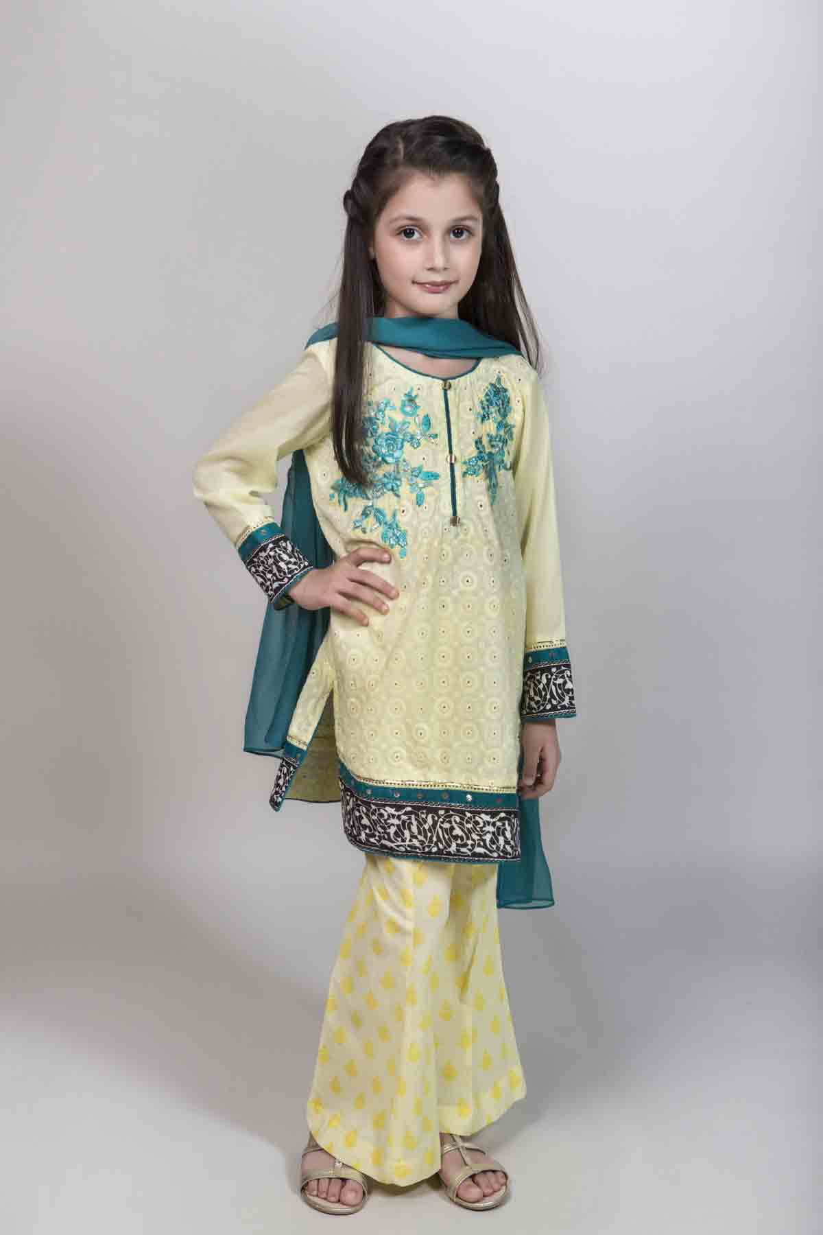 7ba12ea7a36 Latest yellow shirt with trouser and dupatta for Pakistani little girls  Mariab kids party dresses 2017
