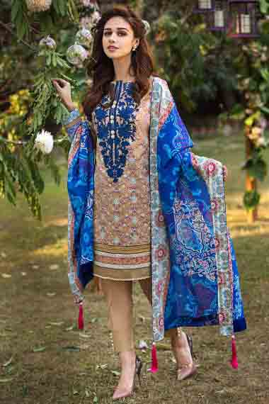 alkaram brown and blue new summer lawn dresses 2017 for Pakistani girls