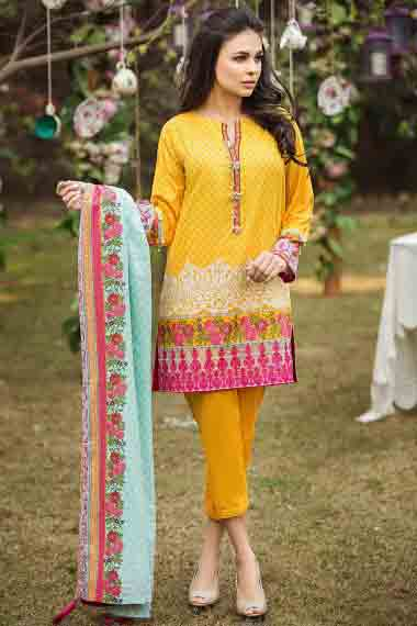 new yellow and pink short shirt with ferozi and pink matching dupatta by alkaram new summer lawn dresses 2017 for Pakistani girls
