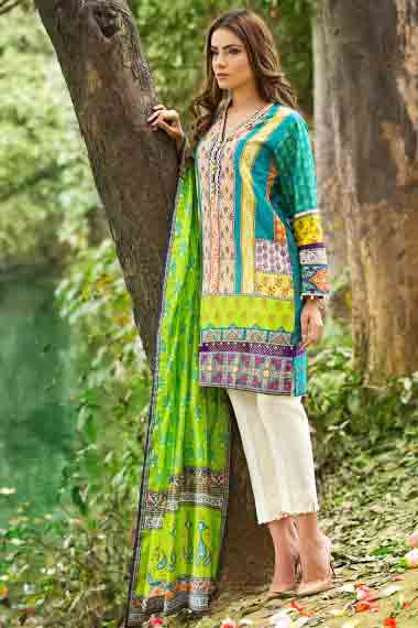 alkaram ferozi yellow short shirt with white pajama and matching green dupatta new summer lawn dresses 2017 for Pakistani girls