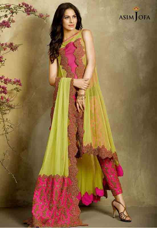 new asim jofa long yellow frock with pink pajama and dupatta new summer lawn dresses 2017 for Pakistani girls