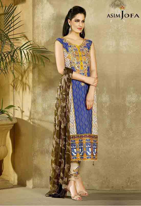 latest asim jofa blue long shirt with brown matching dupatta new summer lawn dresses 2017 for Pakistani girls