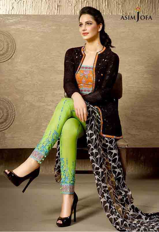 best asim jofa orange shirt with black jacket and green pajama new summer lawn dresses 2017 for Pakistani girls