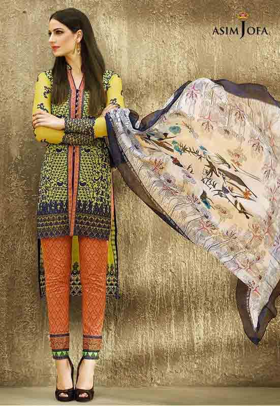 best asim jofa yellow and green shirt with orange pajama and matching dupatta new summer lawn dresses 2017 for Pakistani girls