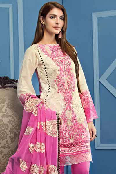 new gulahmed white and pink embroidered shirt with matching dupatta new summer lawn dresses 2017 for Pakistani girls