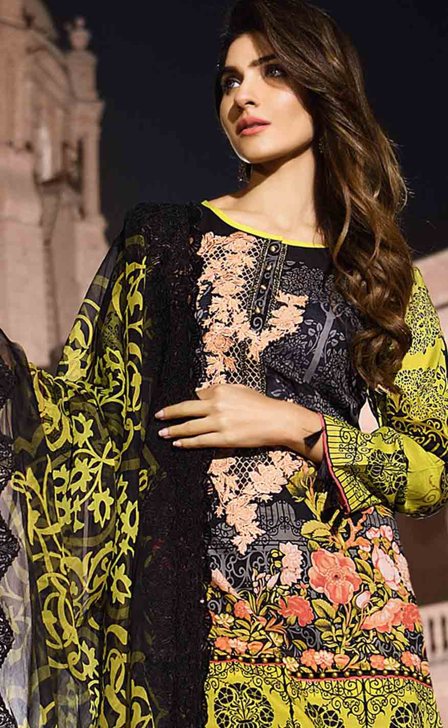 new gulahmed black and green new summer lawn dresses 2017 for Pakistani girls