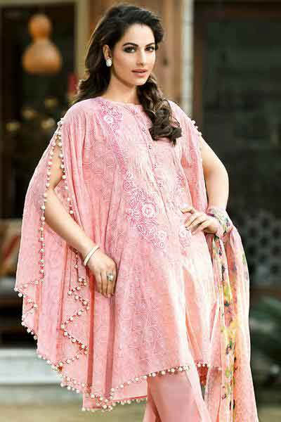 best gulahmed light pink cape new summer lawn dresses 2017 for Pakistani girls